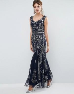 Frock and Frill Платье макси с отделкой и глубоким вырезом сзади. Цвет: темно-синий