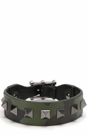 Кожаный браслет Rockstud Valentino. Цвет: хаки