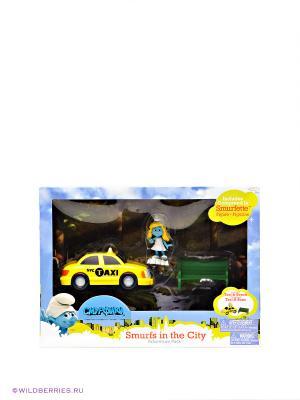 Игровой набор с фигурками Смурфетта в такси Hasbro. Цвет: желтый, зеленый, голубой