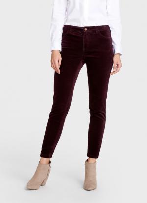 Вельветовые брюки «5 карманов» OSTIN. Цвет: баклажановый