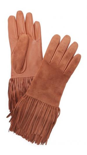 Перчатки из кожи и замши с бахромой Carolina Amato. Цвет: верблюжий