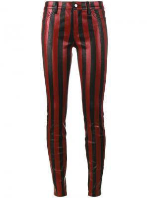 Полосатые брюки скинни Beau Souci. Цвет: красный