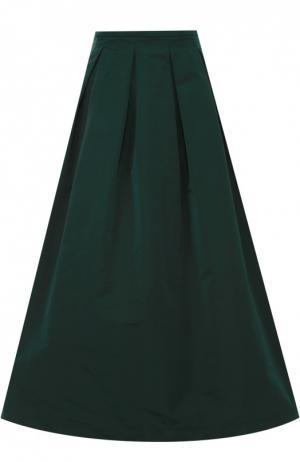 Пышная юбка-миди с защипами Rochas. Цвет: зеленый