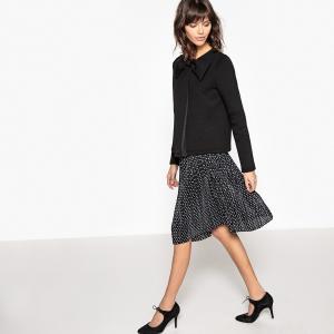 Платье короткое с плиссировкой, рисунком MADEMOISELLE R. Цвет: черный/ белый