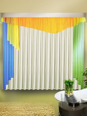 Комплект штор ZLATA KORUNKA. Цвет: белый, синий, зеленый, желтый