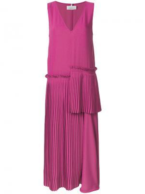 Плиссированная юбка асимметричного кроя с заниженной талией Mm6 Maison Margiela. Цвет: розовый и фиолетовый