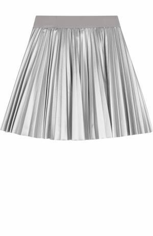Плиссированная юбка с металлизированной отделкой Monnalisa. Цвет: серебряный
