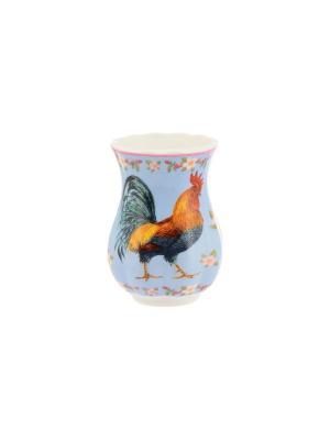 Вазочка под зубочистки Петух в цветах на голубом Elan Gallery. Цвет: голубой