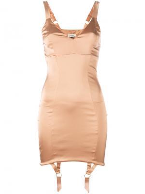 Облегающее платье с подтяжками Murmur. Цвет: телесный