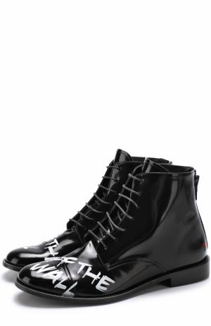Высокие кожаные ботинки на шнуровке с контрастной отделкой Joshua Sanders. Цвет: черный