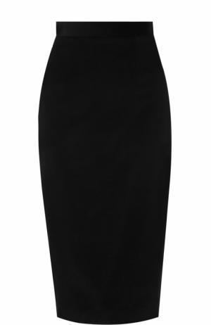 Бархатная юбка-карандаш с контрастной вставкой Olympia Le-Tan. Цвет: черный