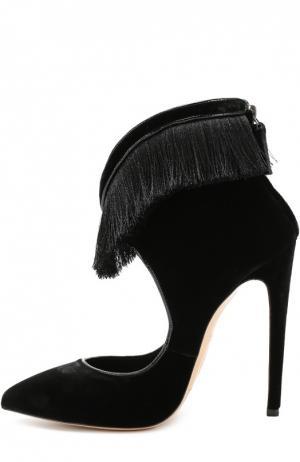 Бархатные туфли Magda с бахромой Aleksandersiradekian. Цвет: черный