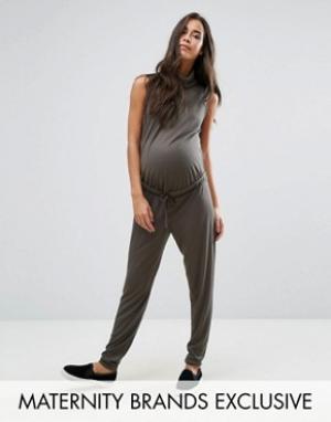 Missguided Maternity Свободный комбинезон для беременных с высоким воротом в рубчик Missgui. Цвет: зеленый