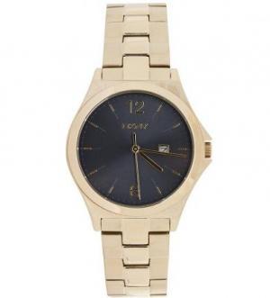 Часы с золотистым браслетом и черным циферблатом DKNY