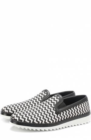 Текстильные слипоны Mondello с контрастным узором Dolce & Gabbana. Цвет: черно-белый