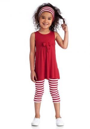 Kidoki, платье, леггинсы и лента для волос (комплект из 3 предметов), девочек CFL. Цвет: красный