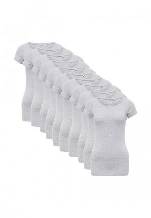 Комплект футболок 10 шт. oodji. Цвет: серый