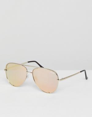 Quay Australia Солнцезащитные очки-авиаторы с зеркальными стеклами X D. Цвет: золотой