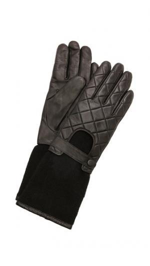 Байкерские перчатки из кожи и трикотажа Carolina Amato