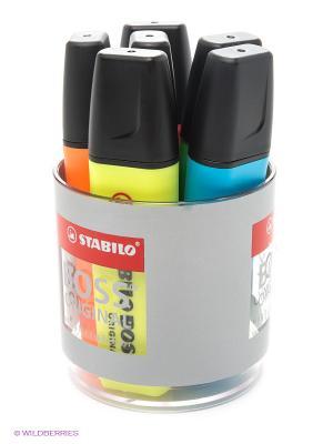 Набор маркеров, 6 шт. Stabilo. Цвет: синий, зеленый, серый, оранжевый, желтый