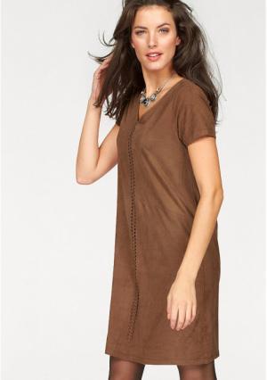 Платье Aniston. Цвет: коньячный