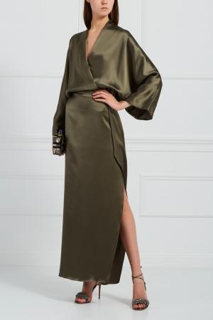 Однотонное платье Alexander Terekhov. Цвет: зеленый