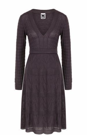 Вязаное мини-платье с V-образным вырезом M Missoni. Цвет: фиолетовый