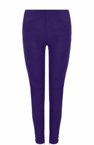 Замшевые брюки-скинни Dolce & Gabbana. Цвет: фиолетовый