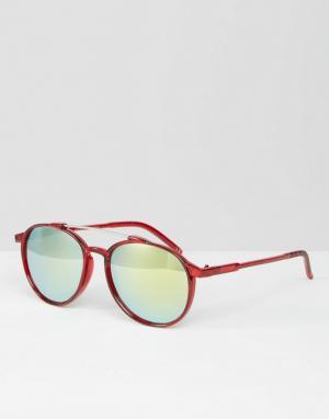 Trip Круглые солнцезащитные очки с зеркальными линзами. Цвет: красный