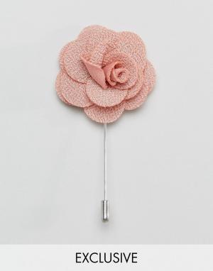 Noose & Monkey Булавка на лацкан с розой. Цвет: розовый