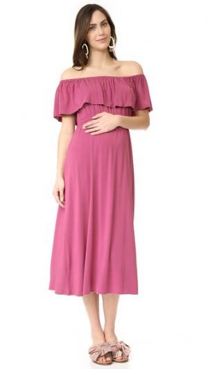 Миди-платье с открытыми плечами Ingrid & Isabel. Цвет: оранжевый