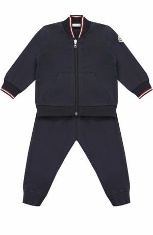 Спортивный костюм из эластичного хлопка с контрастной отделкой Moncler Enfant. Цвет: темно-синий