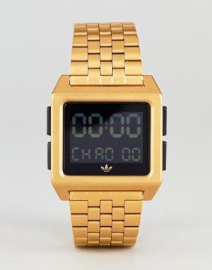 Adidas Золотистые электронные наручные часы Z01 Archive. Цвет: золотой