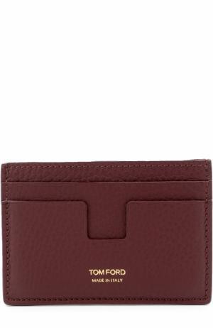 Кожаный футляр для кредитных карт Tom Ford. Цвет: бордовый