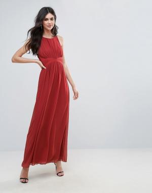 BCBG MaxAzria Вечернее платье макси с драпировкой. Цвет: оранжевый