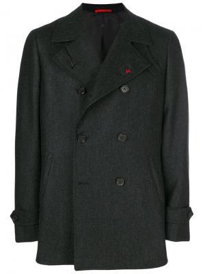 Двубортное пальто Isaia. Цвет: серый