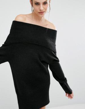 Kendall + Kylie Вязаное платье-туника Fuzzy. Цвет: черный