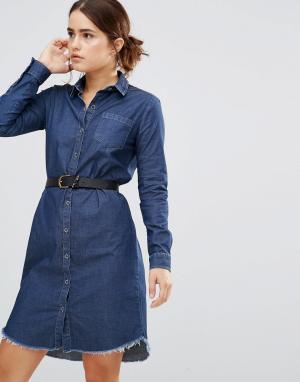 Uncivilised Джинсовое платье‑рубашка Austin. Цвет: синий