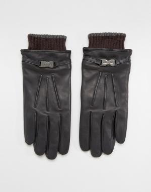 Ted Baker Кожаные перчатки Quiff. Цвет: черный