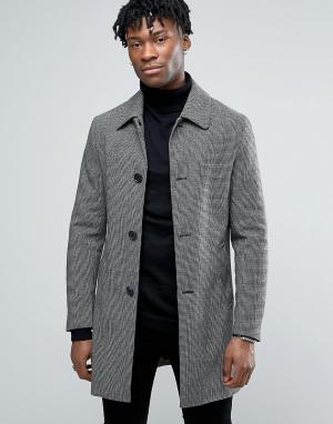 Harry Brown Шерстяное пальто в ломаную клетку. Цвет: черный