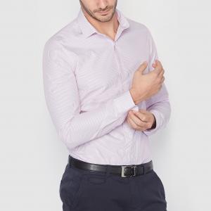 Рубашка в полоску из поплина, узкого покроя. Длинные рукава R essentiel. Цвет: в полоску/розовый,синий в полоску