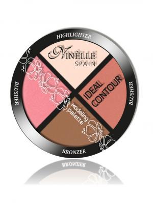 Палетка для моделирования лица Ideal Contour №36, Холодные оттенки Ninelle. Цвет: розовый, бронзовый, терракотовый