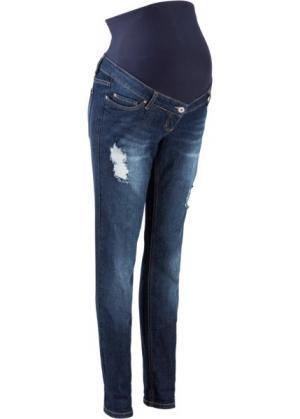 Для будущих мам: джинсы в стиле герлфренд (темно-синий «потертый») bonprix. Цвет: темно-синий «потертый»