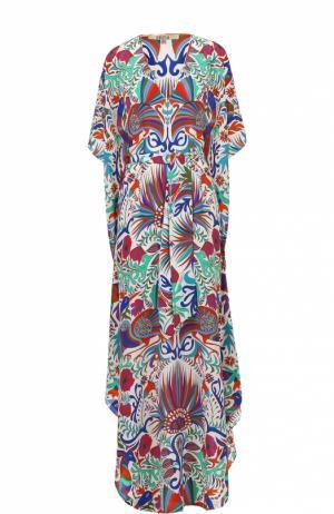 Шелковое платье-макси с ярким принтом Lazul. Цвет: разноцветный