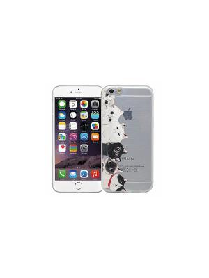 Чехол для iPhone 6/6s Коты (прозрачный) Kawaii Factory. Цвет: прозрачный, белый, черный