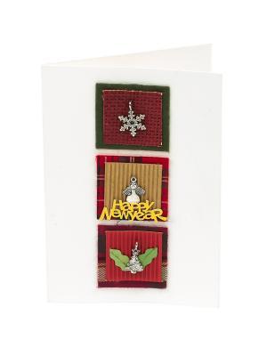 Открытка Новогодний кулончик, 15,5*10,5 см. DEEPOT. Цвет: зеленый, белый, бордовый