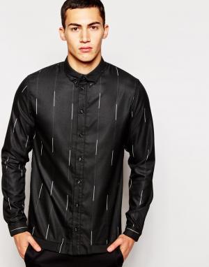 2 x H Brothers Рубашка с тонкими полосками 2xH. Цвет: черный