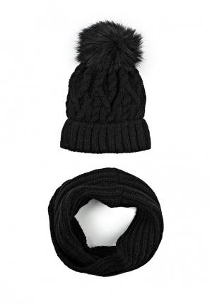 Комплект снуд и шапка Fete. Цвет: черный