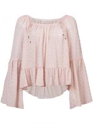 Блузка с узором в мушку и оборками Ulla Johnson. Цвет: розовый и фиолетовый