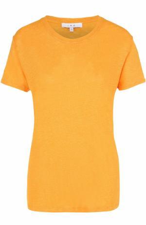 Льняная футболка прямого кроя с круглым вырезом Iro. Цвет: оранжевый